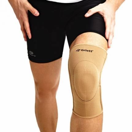 Бандаж на колено эластичный с фиксирующей подушкой и спиральными ребрами EKN-212